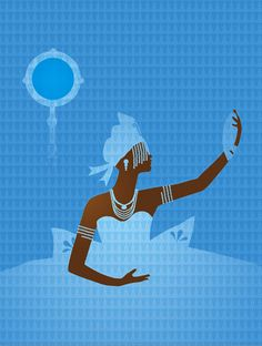 """Iemanjá é o orixá mais popular e mais cultuado no Brasil. A origem de seu nome significa """"mãe dos peixinhos"""". Também chamada de Inaê, Dona Janaina ou Rainha do Mar, Iemanjá rege as águas e o mares. Em dezembro, na virada do ano, e no dia dois de fevereiro, recebe milhares de oferendas de seu seguidores. Escute o """"Canto de Iemanjá"""", quarta música do disco: https://www.youtube.com/watch?v=JCvfAQtbQyc.  Imagem: ilustração de Iemanjá."""