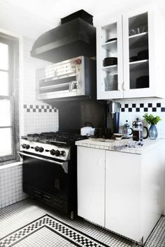 Checkerboard tilework gives off retro vibes.