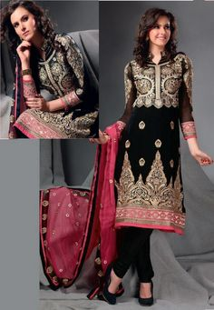 Indian suit, black and pink