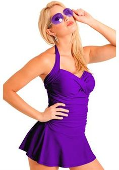 Sweetheart Bandeau Shirred Front Swim Dress by Carol Wior's Slimsuit™ | Plus Size Swim Dresses | Woman Within (I wish this came in Regular Ladies Sizes.)
