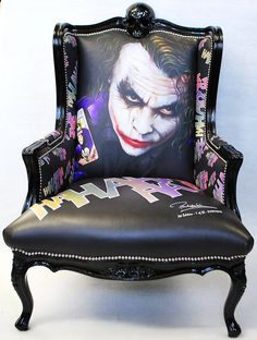 Joker Chair limited edition of 25 only featuring artwork of heathe ledger as the joker by Paul Karslake with custom HaHaHa print,hand made by Wish in the uk.
