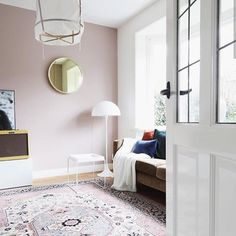 Light pink walls with fresh furniture Light Pink Bedrooms, Light Pink Walls, Bedroom Red, Bedroom Wall, Master Bedroom, House Color Schemes, House Colors, Colour Schemes, Little Greene Paint
