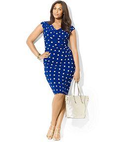 Lauren Ralph Lauren Plus Size Dress, Cap-Sleeve Polka-Dot - Plus Size Dresses - Plus Sizes - Macys