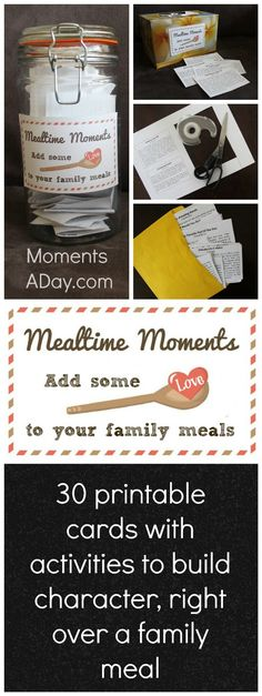 Mealtime Moments: Printable Activity Cards to Build Character at the Table