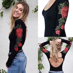 3b1a53cff37 Aliexpress.com   Buy Black Sexy Bodysuits Women Skinny Long Sleeve  Embroidery Flowers O neck Backless Club Party Bodysuit Female KH963228 from  Reliable ...