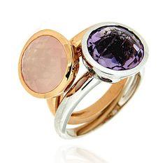BOTTON DUO Ref: 37966+37983 Conjunto de sortijas realizadas en oro blanco y rosa, con un cuarzo rosa y una amatista engastados en chatón. Se pueden llevar también individualmente.