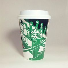 Starbucks Art - The amazing and hilarious hijacked paper cups of Soo Min Kim pics) Starbucks Cup Drawing, Starbucks Art, Coffee Love, Coffee Art, Starbucks Wallpaper, Paper Art, Paper Cups, All Art, Typography Design