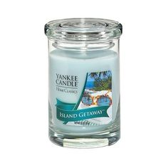 Yankee Candle Home Classics Perfect Pillar Candle - Island Getaway ($20) ❤ liked on Polyvore featuring home, home decor, candles & candleholders, candles, blue, yankee candle candles, blue candles, colored pillar candles, scented pillar candles and wick candles