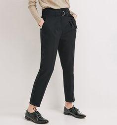 Spodnie z wysokim stanem czarny - Promod