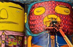 OSGEMEOS criando sua obra para a Bienal de Vancouver (Foto: Vancouver Biennale/Divulgação)