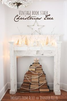 How to make a book stack Christmas tree with vintage books. Love this!!!