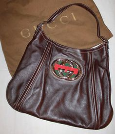 Authentic GUCCI Brown Leather GG Medallion Hobo Soho Signature Stripe Bag Purse