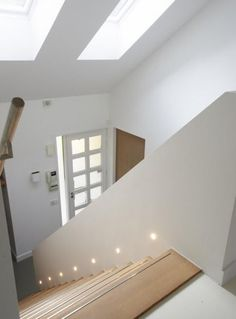 stairs - lights note also the metal or reflective strip on the front edge of each step (Step Stairs) Led Stair Lights, Stairway Lighting, Hall Lighting, Strip Lighting, Light Architecture, Interior Architecture, Escalier Design, Exterior Stairs, House Stairs
