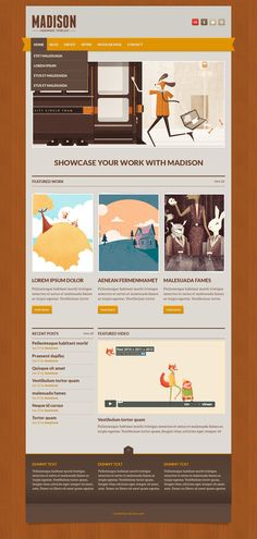 Vintage wood style web site template perfect for showcase