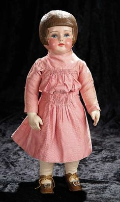 Soirée: A Marquis Cataloged Auction of Antique Dolls and Automata - May 14, 2016: Lot 95. American Cloth Character Doll by Martha Chase with Rare Brown Bobbed Hair