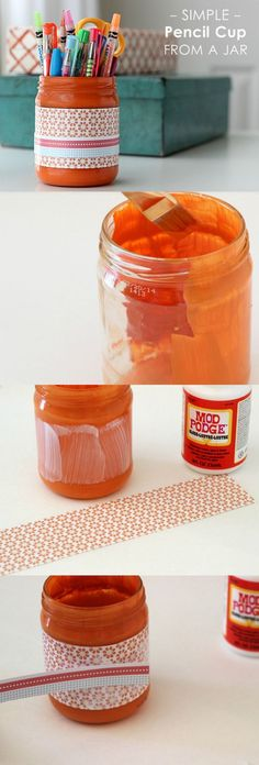 Shannon takes a recycled salsa jar and turns it into a cute DIY pencil cup with the help of Mod Podge and her favorite papers!