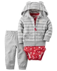Carter's Baby Boys' Cardigan Sets Heather/Red Stripe, New Born Baby Boy Cardigan, Fleece Cardigan, Striped Cardigan, Carters Baby Boys, Baby Boy Newborn, Baby Kids, Baby Baby, Baby Outfits, Kids Outfits
