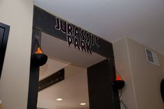 Jurassic Park gate DIY entrance to dinsoaur themed party