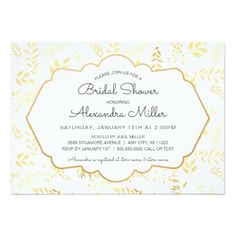 Gold Foil Leaves Bridal Shower Invite - shower gifts diy customize creative
