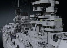 IJN Nagato by Dmitriy Mironov on ArtStation. Imperial Japanese Navy, 3d Modelle, Nagano, Battleship, Art Pictures, Wwii, Sci Fi, Artwork, Ships