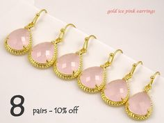 Bridesmaid Gift Set of 8 10% Off Pink Wedding Jewelry Set Blush Wedding Drop Earrings Maid of Honor Gift for Bridesmaids Earrings