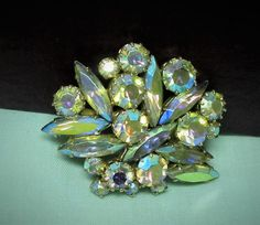 Vintage 1960s Yellow Rhinestone Brooch by letsreminisce on Etsy