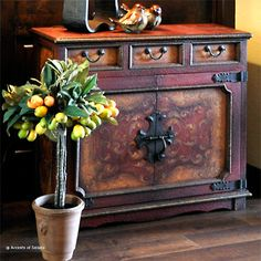 Hand painted & distressed wood chest. Beautiful rustic elegant accent piece.