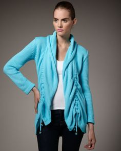 Drawstring-Front Cardigan by Pure Handknit at Neiman Marcus.