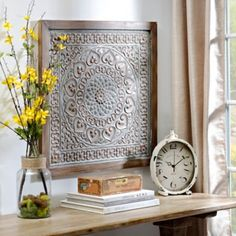 Distressed Gray Floral Medallion Tile Wall Decor