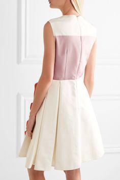 Prada - Color-block Ruffled Silk-faille Mini Dress - Ivory - IT38