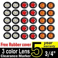 30 Pcs TMH 34 Inch Surface Mount 10 pcs Amber 10 pcs Red 10 pcs White LED Clearance Markers Bullet Marker lights side marker lights led marker lights led trailer marker lights *** Continue to the product at the image link. (This is an affiliate link) Car Body Cover, Bali Blinds, Wire Installation, Light Side, Color Lenses, Red Led, Packing Light, White Lead, White Light