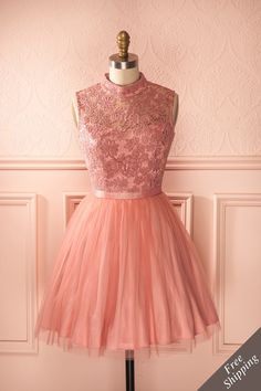 Adriana - Dusty pink lace and tulle stand collar dress