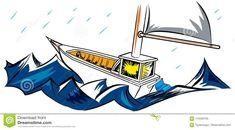 Sailboat and big waves – illustrations and cartoons