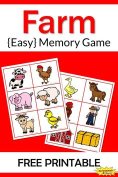 Farm Memory Game Free Printable - Learning Ideas for Parents