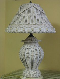 Classic Table Lamp While parlors may be out of fashion, the Classic Lamp is always in style as a reproduction of vintage favorites. The ginger jar-shaped base features a traditional wicker pattern with interwoven spine accents attached to a low-profile resin pedestal. Ornamentation on the flared shade includes braided swags around the top and a delightful band of repeating wood beading and loop spindling at the edge.