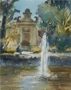Fountaiin, Palazzo Parisio, Malta - Trevor Chamberlain ROI, RSMA - Island Fine Arts Watercolor Water, Fine Art, Painter, Watercolor Paintings, Watercolor Artist, Painting, Imagery, Holiday Painting, Art