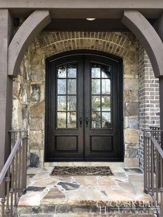 Custom iron front entry doors transform the design of any entrance. With large glass windows to let in all the natural light, these custom made traditional double doors take your exterior french door ideas to the next level. Arched Front Door, Double Front Entry Doors, Iron Front Door, Front Door Entrance, Arched Doors, Glass Front Door, Iron Doors, Custom Exterior Doors, Double Doors Exterior
