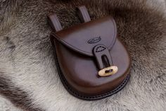 Hand stitched Leather Woodland Pouch with hand made Antler toggle by Beaver Bushcraft