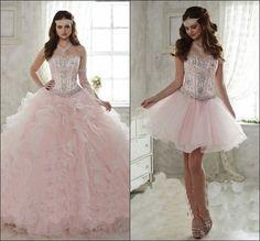 Real photo 2016 Rosa Claro Vestido de Quinceañera Balón vestido de Novia de Tren Desmontable Con Volantes 15 años chica Quinceañera Vestido