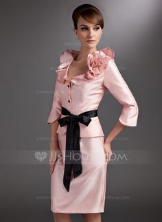Sheath/Column V-neck Knee-Length Taffeta Mother of the Bride Dress With Sash Flower(s) Bow(s) Cascading Ruffles (008005651)