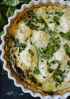 ZA'ATAR QUICHE // eggplant, spinach, cauliflower, cilantro