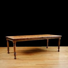 Bonnin Ashley Custom Farm Table with Reclaimed Ponderosa Pine Top & Apron and Turned Cherry Legs Antique Dining Tables, Dining Bench, Online Furniture, Custom Furniture, Furniture Design, Antique Pine Furniture, Pine Timber, Table Frame, Asian
