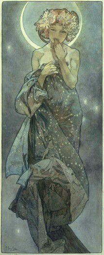 """by Alphonse Mucha - Art Nouveau - Jugendstil: ~The Moon and the Stars: study for """"The Moon"""" Mucha Art Nouveau, Alphonse Mucha Art, Art Nouveau Tattoo, Mucha Artist, Art Nouveau Poster, Art And Illustration, Illustrator, Jugendstil Design, Art Moderne"""