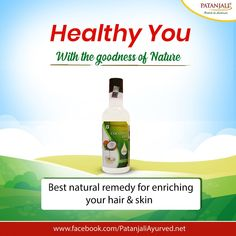 Healthy You with the power of Nature!! Patanjali Virgin coconut oil is the oil extracted from coconuts without the application of heat. Regular use of virgin coconut oil gives you a natural glow and healthy lifestyle. It is low in calories and fat which also helps to get rid of obesity. #PatanjaliProducts #CoconutOil #HealthyLifestyle - Patanjali Products  IMAGES, GIF, ANIMATED GIF, WALLPAPER, STICKER FOR WHATSAPP & FACEBOOK