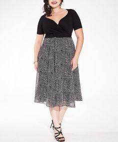 Another great find on #zulily! Black Dot Sweetheart Cassidy Midi Dress - Plus by IGIGI #zulilyfinds