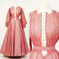"""""""A spot of royal glamour for the England rugby semi-final & my international version of Unsuitable Sideline Attire. This striped cotton ballgown was created by for in practically a wearable flag Historical Costume, Historical Clothing, Norman Hartnell, Edwardian Clothing, Princess Margaret, Rugby, Ball Gowns, Vintage Outfits, Glamour"""