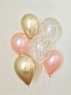 Rose Gold Chrome Gold & Clear Gold Confetti Latex Balloon~Birthday~Wedding~Bridal Shower~Rose Gold Balloon~Gold Confetti Look Balloon~Chrome Ballon iDeen 🎈 Ballons Brilliantes, Glitter Balloons, Rose Gold Balloons, Latex Balloons, Confetti Balloons, Baby Girl Birthday, Sweet 16 Birthday, 1st Birthday Parties, Gold Bridal Showers