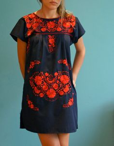 Navy blue mexican embroidered dress by AnaWak on Etsy, $45.00