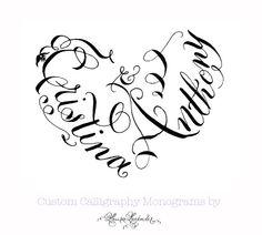 Calligraphy Heart Monogram - Hand Lettered Custom Wedding Crest - Unique Invitations - Heart Shaped Romantic Sweet Cute.via Etsy.