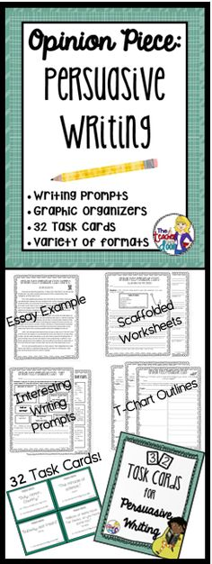 Updated! This 52 page Persuasive Writing Unit is loaded with 32 task cards, scaffolded worksheets, graphic organizers, a group project, homework, a game and more! (TpT Resource)